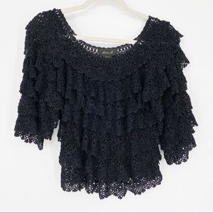 Hippie Bohemian See-Through Crocheted Lace Top S/M